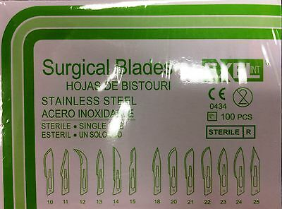 100 Exel disposable Sterile Stainless Steel Surgical Scalpels Blades sz #15