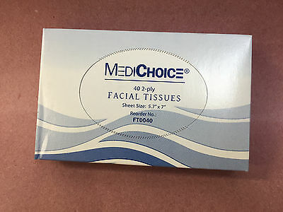 """MEDICHOICE FT0040 2-PLY 5.7""""x7"""" FACIAL TISSUE, LOT OF 5 PACKS (200 TISSUES)"""