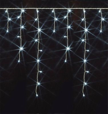 New 240 Led Christmas Icicle Lights WHITE Weddings Partys Outdoor Memory