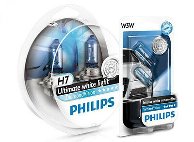 (+ W5W Parkers!) NEW H7 PHILIPS Diamond Vision 5000K Ultimate White Light Bulbs