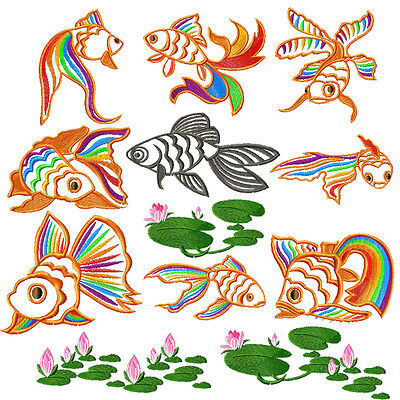 Feng Shui Chinese Gold Fish embroidery designs set 4x4