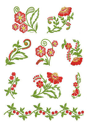 Fantasy Flowers #4: 9 Machine Embroidery Designs