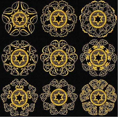Gold Star of David Quilt Blocks Embroidery Designs 4x4