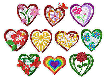 Valentines-Hearts + Flowers Embroidery Designs set 4x4