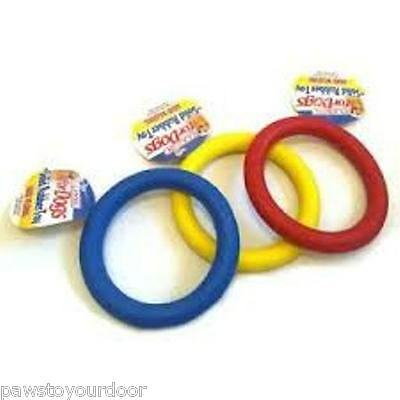 "Dog toy rubber ring 7"" or 3.5"" puppy fetch chew tough toys solid rubber Classic"