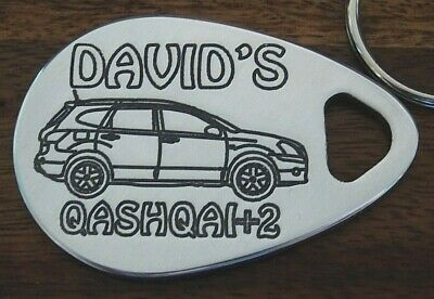 Nissan Qashqai + 2 Personalised Picture Key Ring Cnc Engraved Present Gift
