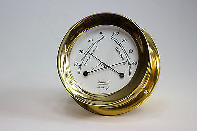 HANSEATIC Hamburg Comfortmeter Thermometer Hygrometer Messing 118 mm NEU
