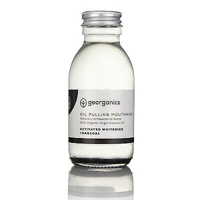 Georganics Natural Organic Coconut Pulling Whitening Mouthwash, Active Charcoal