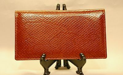 Mohawk Snake Skin Embossed Tan / Light Brown Leather Checkbook Cover