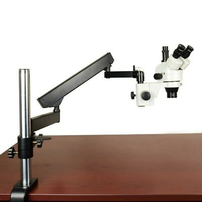 OMAX 3.5X-90X Trinocular Zoom Microscope on Articulating Arm with 0.5X Barlow