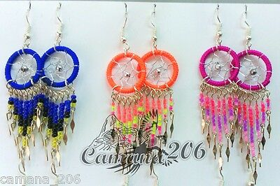 80 pair SMALL DREAMCATCH COLORFUL EARRINGS mix colors **HANDMADE**