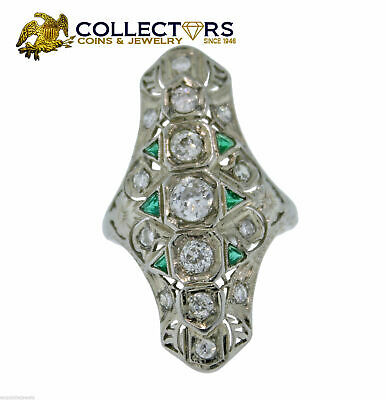 Antique Art Deco Solid 20K White Gold .94ct Diamond Emerald Cocktail Ring EGL