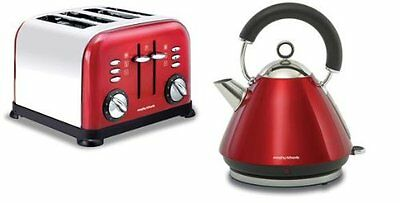 Morphy Richards 1.5L Kettle and 4 Slice Toaster - Accents Red