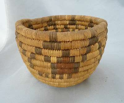 "Native American Small HOPI Basket Bowl Very Nice Design. Approx 4"" T x 6.25"" W"