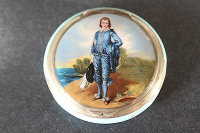Stunning Antique Guilloche enamel Little boy blue sterling silver compact Box