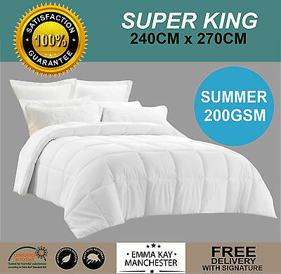 Microfibre Summer Weight **super King** 200Gsm Quilt, Duvet, Doona- Oeko Tek