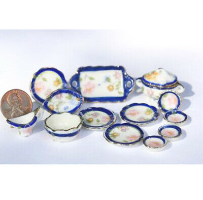 Dollhouse Miniature Clearance Blue & Gold Floral Ceramic Dinner Set