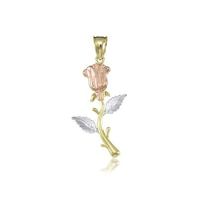 14K Solid Yellow White Rose Gold Rose Pendant -Flower Diamond Cut Necklace Charm