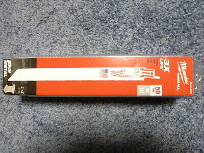 "50 pack 9"" 18 TPI Milwaukee Metal Sawzall Blades 48-01-6188 Double Duty"