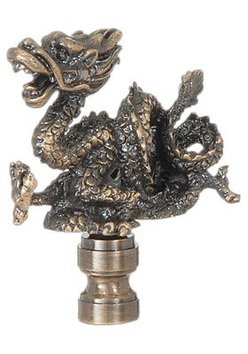 "ORIENTAL DRAGON LAMP FINIAL ~ Antique Brass Finish  { 2 5/8"" Tall } ~ by PLD"