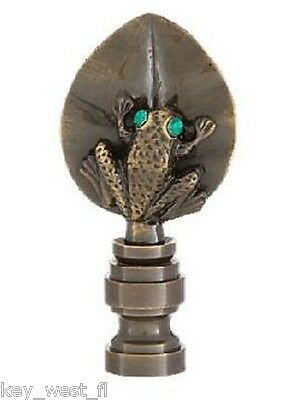 "TREE FROG LAMP FINIAL ~ Antique Brass Finish  { 2 3/8"" Tall } ~ by PLD"