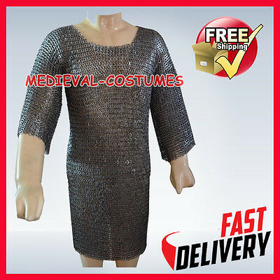 MS Flat Riveted w/ Washer Chainmail Shirt SMALL Medieval Chainmail Hauberg RFD24
