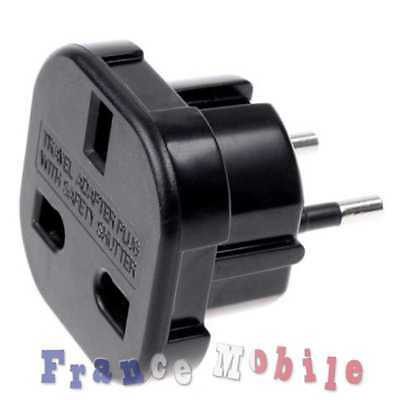 Adaptateur Secteur Prise Anglaise UK vers France EU Europe Voyage Adapter Plug