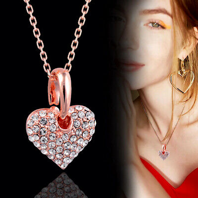 Brand Women Romantic Crystal Heart Pendant Necklace 18K Rose Gold Chain 2017 New