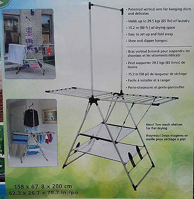 Stainless Steel Clothes Drying Station Indoor/Outdoor Foldable Rack Airer Holder