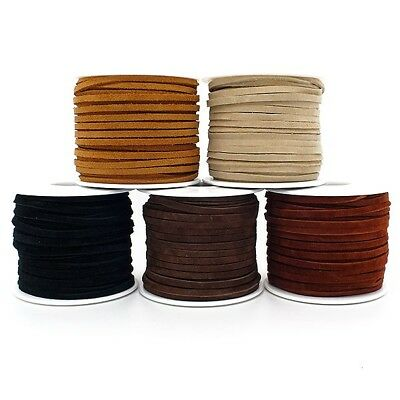 Real Leather/Suede Cord 3mm Flat Rustic String - 5 Colours x 2 metres