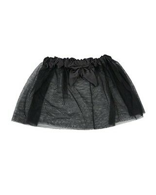 Girls Halloween Gothic Witch Black 2 Layers 13 inches Tutu With Bow Skirt