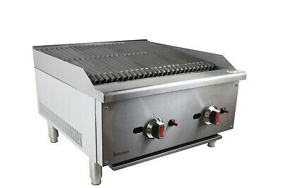 New Infernus Gas Charcoal Char Broiler 2 Burner Chargrill Commercial BBQ 600mm