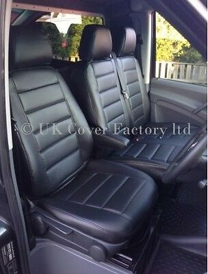 Vw Transporter T4 Van Seat Cover Tailor Fit  Black Quilted Pvc Leather A120A