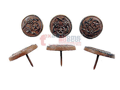 """6 Rustic Cast Iron Crossed Pistols Star Craft Pin 2 inches with 1"""" Nail Western"""