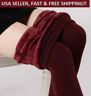 Women's Solid New Winter Thick Warm Lined Thermal Stretchy Leggings Pants