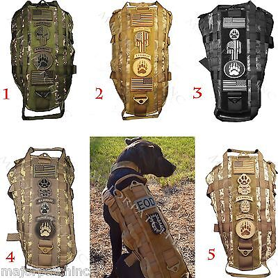 New Camo Usa Tactical Harness Vest Police K9 Dog Molle Canine Velcro® Fastener