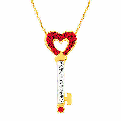 Key Pendant with Swarovski Crystal in 18K Gold-Plated Sterling Silver