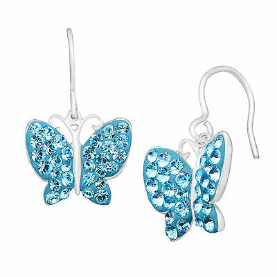 Butterfly Earrings with Blue Swarovski Crystal in Sterling Silver