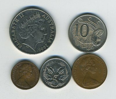 Australia - Lot of 5 Coins - 1, 2, 5, 10 & 20 Cents - Exotic Animals - Lot - #20