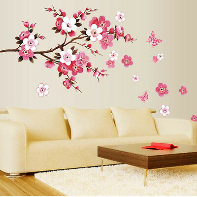 Peach Blossom Flowers Removable Wall Art Decal Vinyl Wall Sticker For Room Decor