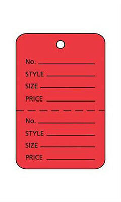 "Count of 1000 New Retails Small Red Unstrung Coupon Price Tags 1¼""W x 1⅞""H"
