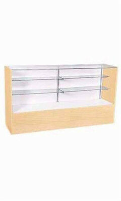 """New Retails Full Vision 2 Glass Shelves Maple Display Case 38""""H x 18""""D x 48""""L"""