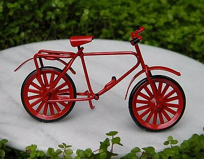 Miniature Dollhouse FAIRY GARDEN Furniture ~ Red Metal Bicycle ~ NEW