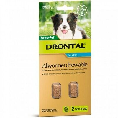 Drontal All-Wormer for Medium Dogs up to 10kg - 2 Chews