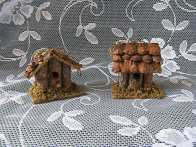 Rustic Log Cabin Birdhouse Ornaments Lot of 2 Wooden Christmas Ornaments