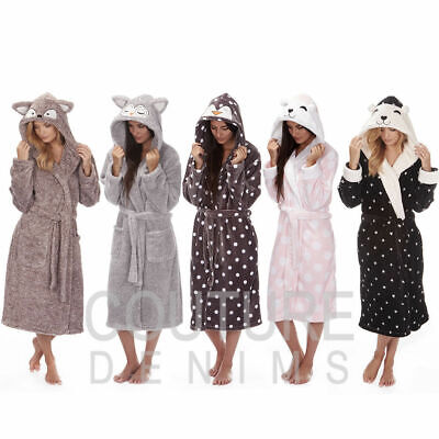 Ladies Dressing Gown Soft Robe Character Animal Hooded Cosy Luxury Fleece & Warm