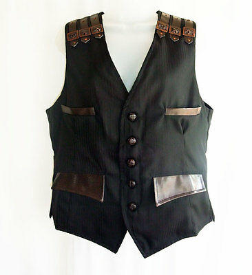 Man's Gothic Steampunk Waistcoat in Charcoal Pinstripe / Brown Faux Leather Trim