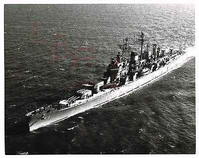 1956 Great 11X14 Photo Of Uss Boston Cag-1 In Action At Sea Aerial View Look