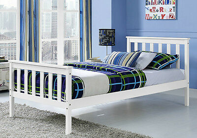 3FT Single Bed Frame White Pine Wood Frame Wooden Shaker Adult Kid Bedstead New