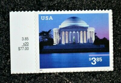 USA2002 #3647 $3.85 Jefferson Memorial - Selvage Single Priority Mint NH